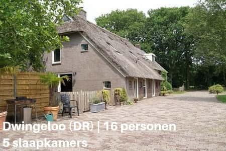 Accommodatie voor familiereunie, 16 personen
