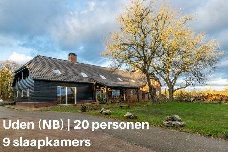 Groepsaccommodatie 20 personen, Uden, Brabant, 9 slaapkamers