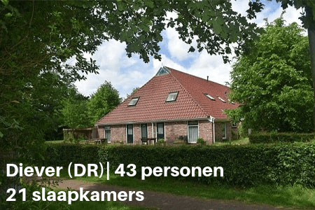 Groepshuis diever 43 personen 21 slaapkamers