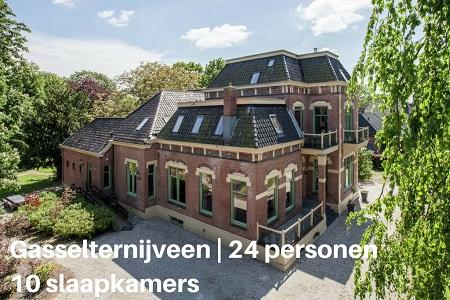 Groepsaccommodatie Villa Huize Tergast, Drenthe, Gasselternijveen, 24 personen, 10 slaapkamers