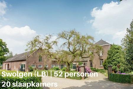 Groepsaccommodatie Kasteelboerderij Gunhof, Limburg, Swolgen, 52 personen, 20 slaapkamers