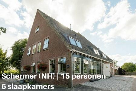 Groepsaccommodatie Boerderij Hoeve Grootschermer, Noord Holland, Schermer, 15 personen, 6 slaapkamers