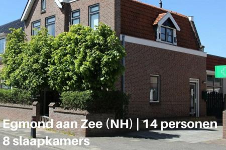 groepsaccommodatie vakantiehuis gezelligheid noord holland egmond aan zee 14 personen 8 slaapkamers