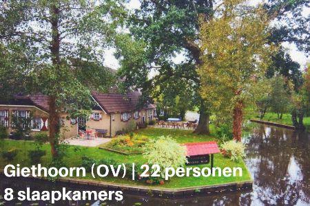 Groepsaccommodatie Vakantiehuis Gi Jo, Overijssel, Giethoorn, 22 personen, 8 slaapkamers
