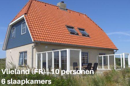 Groepsaccommodatie Vakantiehuis Zorgeloos, Waddeneilanden, Vlieland, 10 personen, 6 slaapkamers