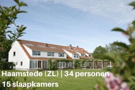 Groepsaccommodatie Haamstede voor 34 personen met 15 slaapkamers