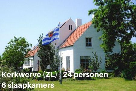 Groot vakantiehuis Zeeland, voor 24 personen met 8 slaapkamers