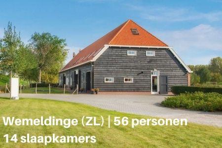 Grote groepsaccommodatie in Zeeland voor 56 personen met 14 slaapkamers