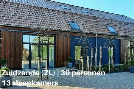 Groepshotel Zeeland, Zuidzande, 30 personen, 13 slaapkamers