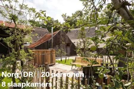 Kampeerboerderij Drenthe, 20 personen, 8 slaapkamers