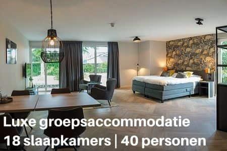 Luxe groepsaccommodatie voor 40 personen in Gelderland (18 slaapkamers)