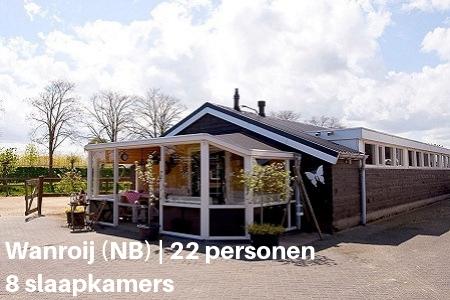 Groepsaccommodatie met zwembad, Wanroij, Brabant, 22 personen, 8 slaapkamers