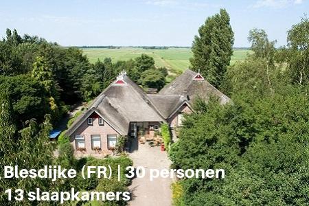 Groepsverblijf met zwembad, Blesdijke, Friesland, 30 personen, 13 slaapkamers